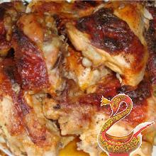 Цыпленок с икрой из зеленых помидоров