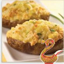 Картофель фаршированный креветками с грибами
