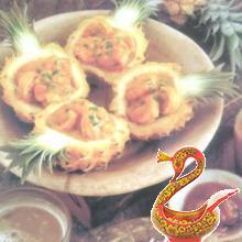 Креветки карри в ананасе