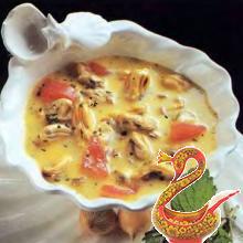 Суп-пюре с морскими моллюсками.