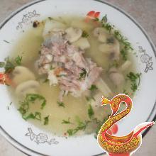 Суп на телячьих ребрышках с шампиньонами